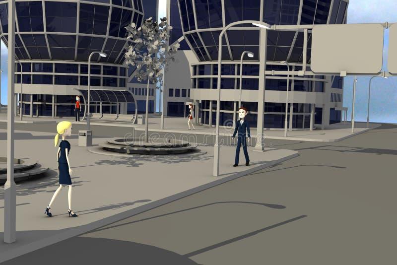 Personajes de dibujos animados que caminan en city3 moderno libre illustration
