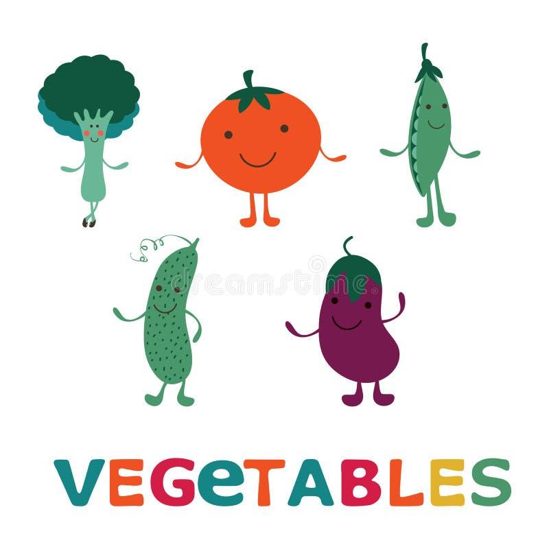 Personajes de dibujos animados vegetales adorables fijados Berenjena feliz, bróculi, pepino, tomate y guisantes verdes ilustración del vector