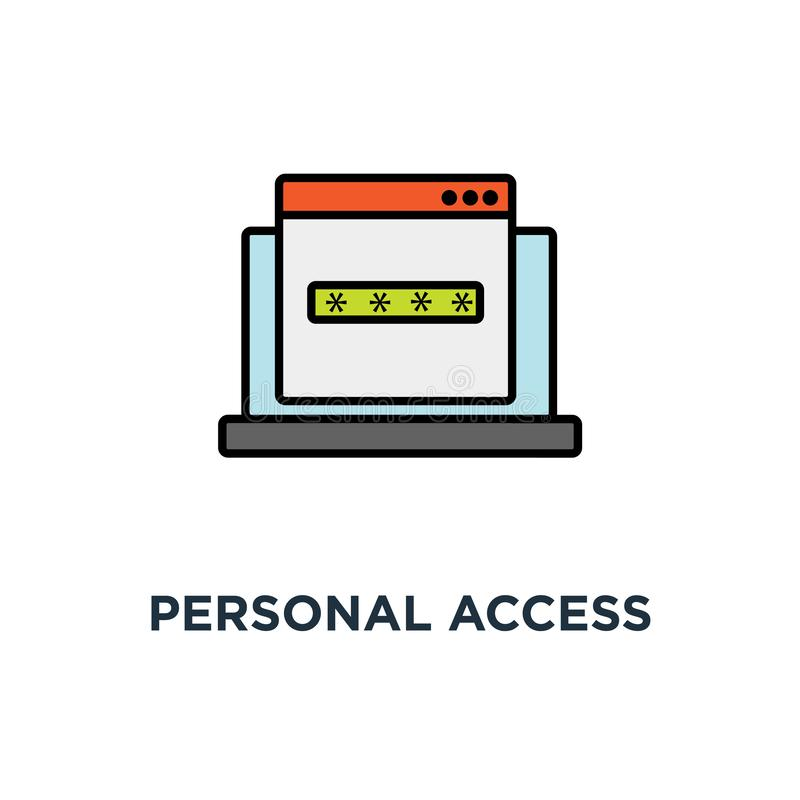Personal access icon, successful web browser login page on laptop screen with password form, security, approved web page in form. With check mark, linear login stock illustration