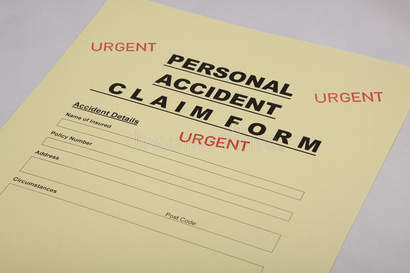 Personal Accident Insurance Claim Form Royalty Free Stock Image