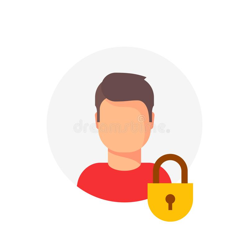 Personal account private protection or locked vector icon, flat cartoon person profile protected with closed lock. Blocked user account, private user icon royalty free illustration