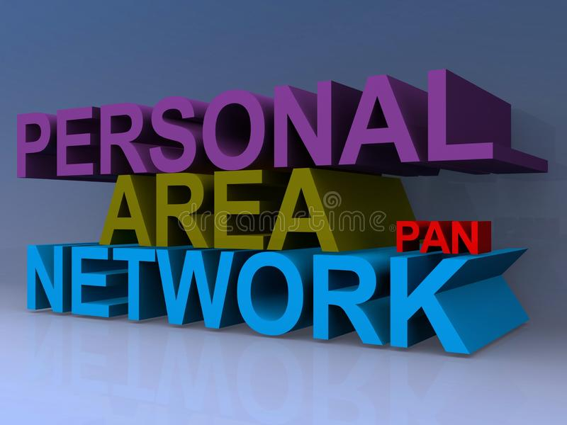 Personal area network. On blue background vector illustration