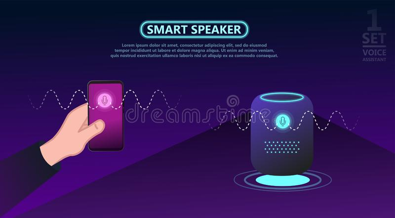Personal assistant, smart speaker with title voice assistant. Voice activated digital assistants and customer self customer concept. Smart speaker reports the royalty free illustration