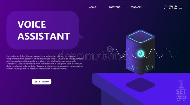 Personal assistant, smart speaker, voice command device. With integrated virtual assistant. Flat vector neon website template and landing page design. Use for stock illustration