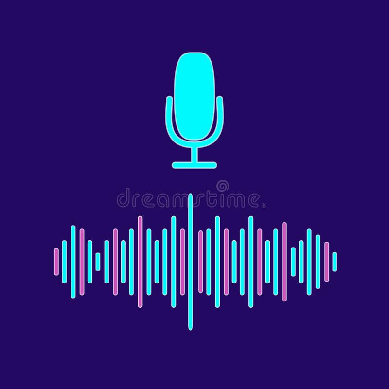 Personal assistant and voice recognition concept flat illustration of sound symbol intelligent technologies. Microphone button. With bright voice and sound royalty free illustration