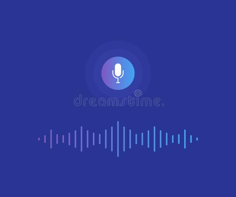 Personal assistant and voice recognition concept. Microphone button with bright voice and sound imitation lines. Modern flat style vector illustration vector illustration