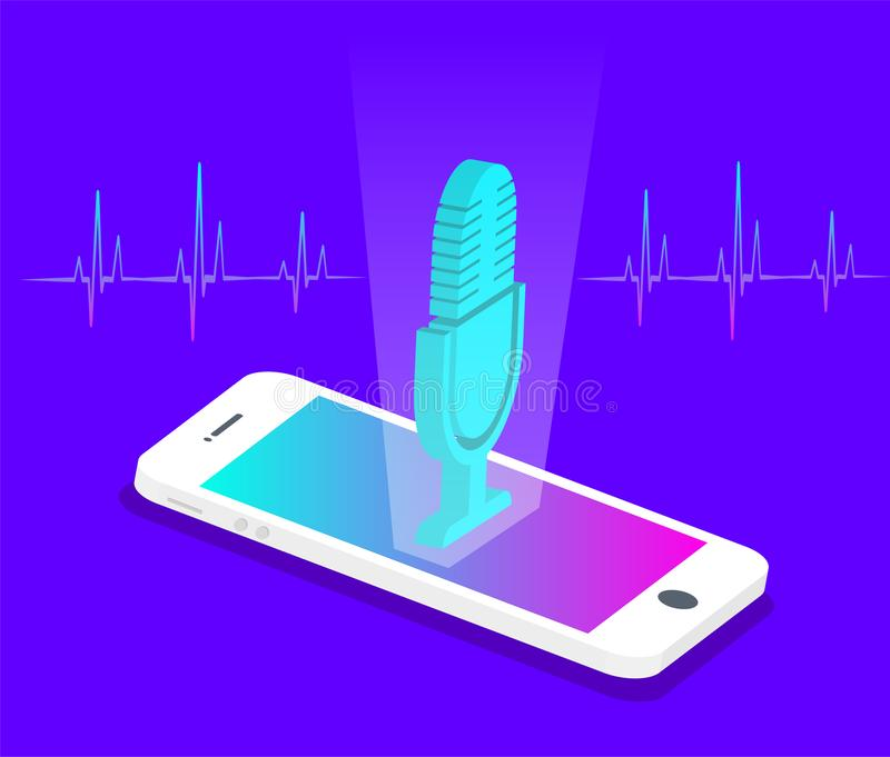 Personal assistant and voice recognition concept. Microphone button. Isometric. Vector illustration stock illustration