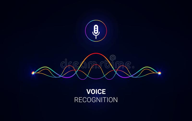 Personal assistant voice recognition concept. Artificial intelligence technologies. Sound wave logo concept.Vector background stock illustration