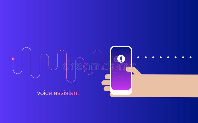 Personal assistant and voice recognition on mobile app.Voice intelligent.Technologies vector illustration of human hand holds smar stock illustration