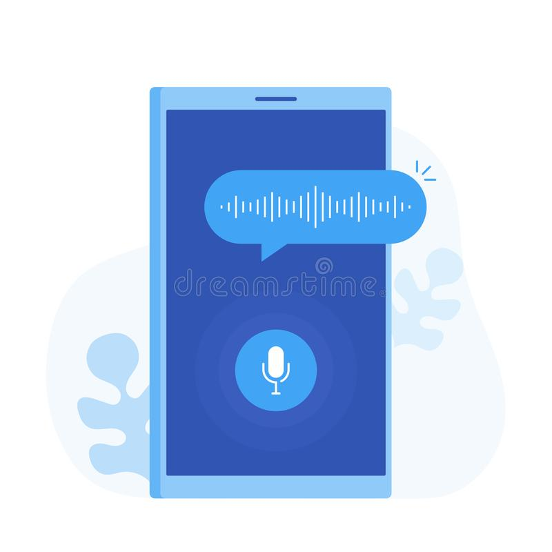 Personal assistant and voice recognition on mobile app. stock illustration