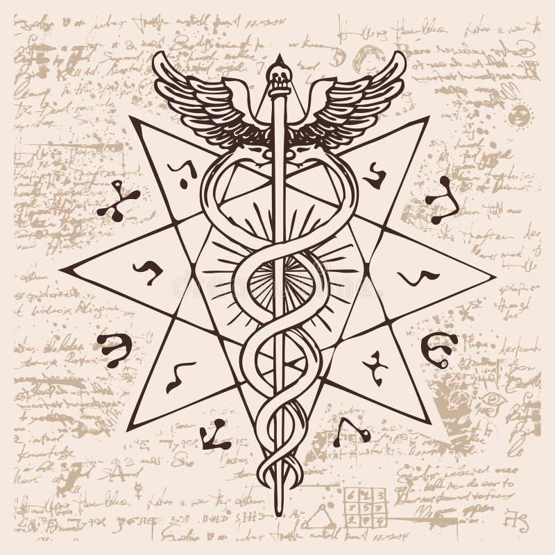 Personal av Hermes med två ormar med vingar vektor illustrationer