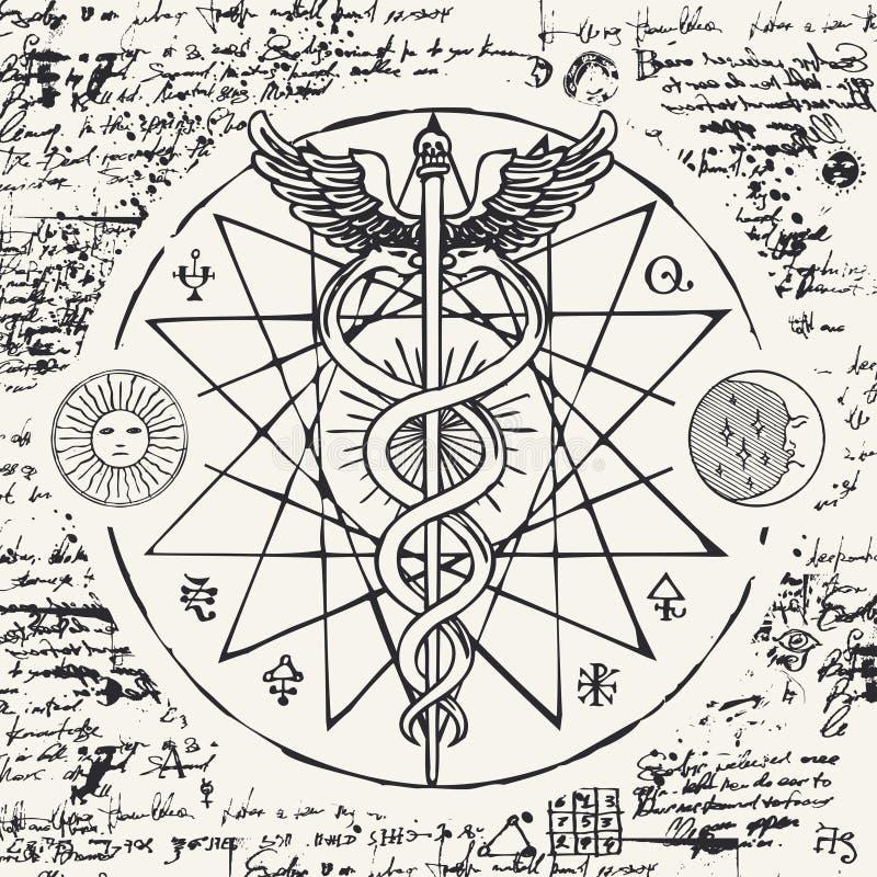 Personal av Hermes med två ormar med vingar stock illustrationer