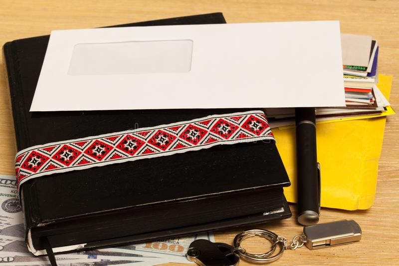 Personal belongings of a businessman on the table. Prepared royalty free stock photos
