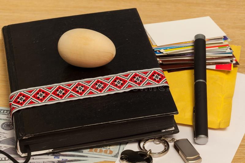 Personal belongings. Of a businessman on the table prepared royalty free stock photography