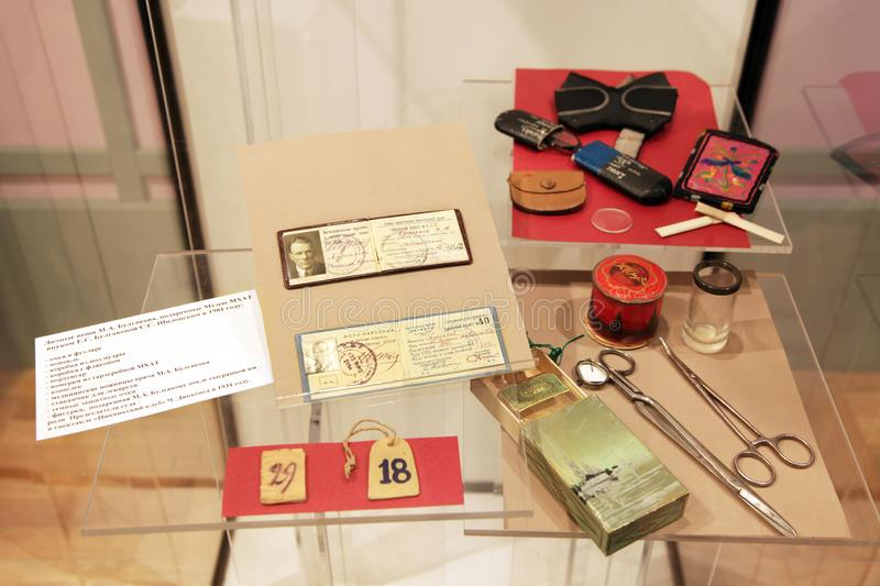 Personal belongings of Mikhail Bulgakov, presented to the Museum of the Moscow art theatre by the grandson of Elena Bulgakova. Personal belongings of the writer stock photos