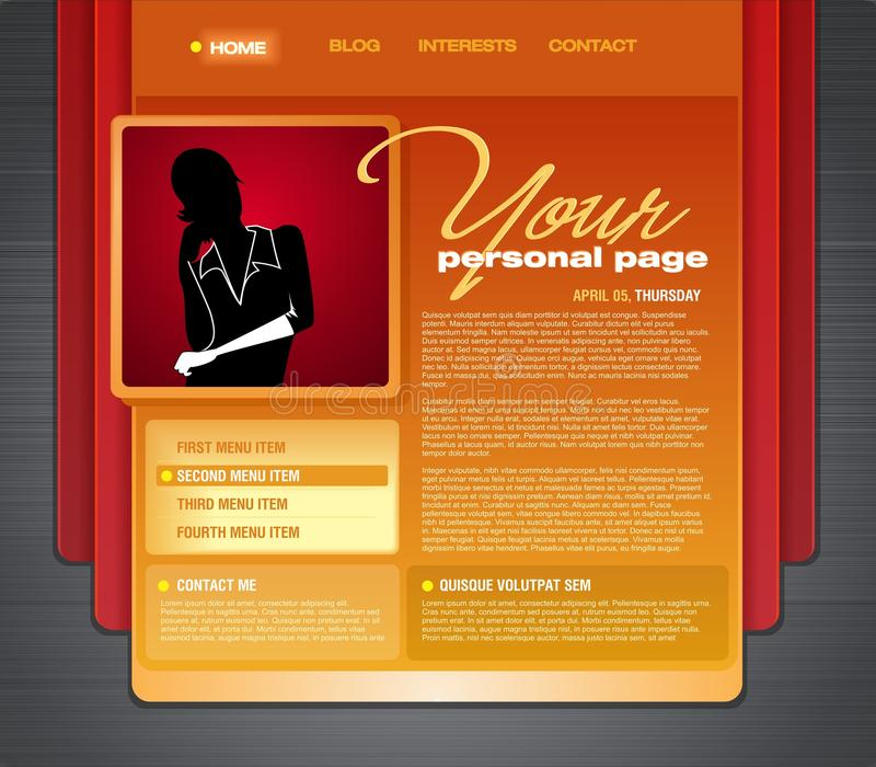 Personal Blog Web Page Template stock illustration