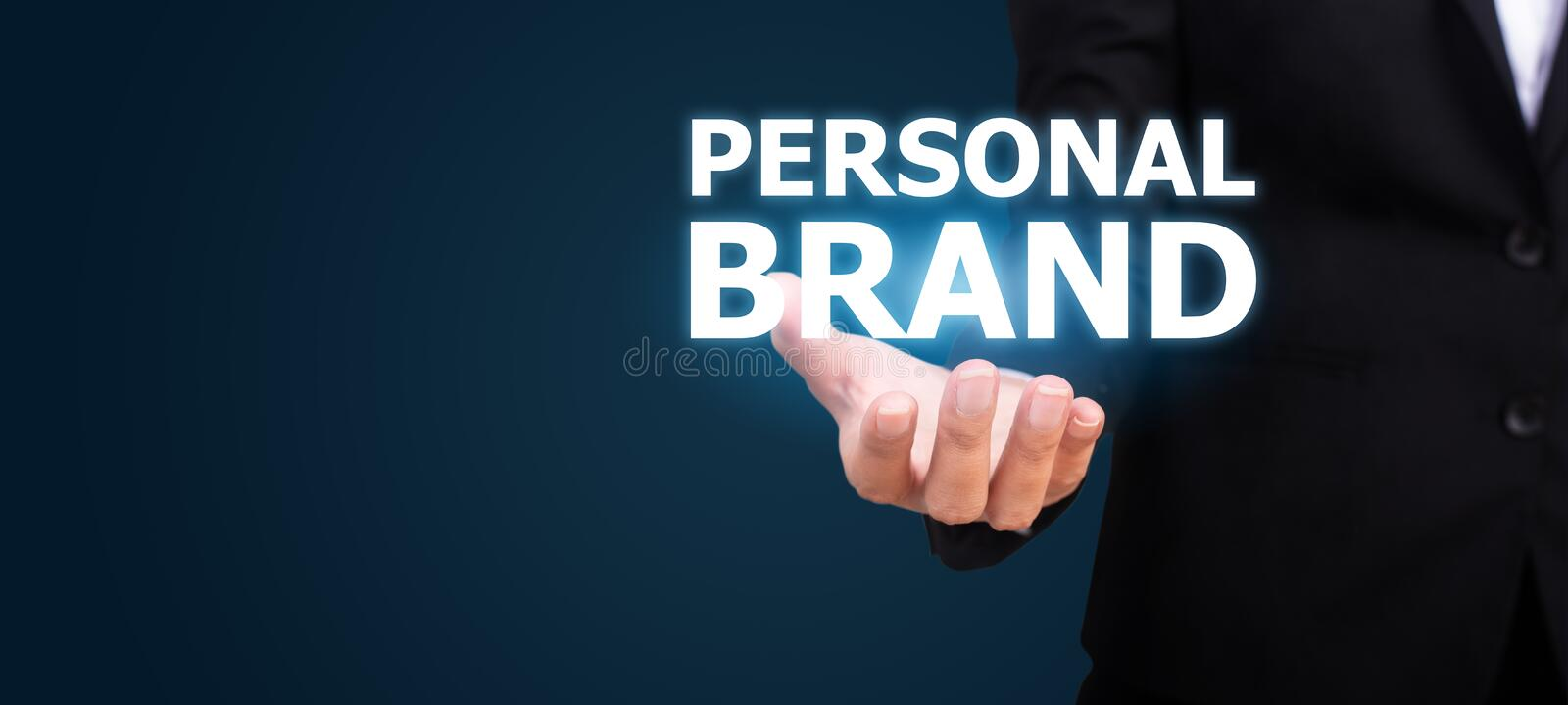 Personal brand concept. Personal brand in the hand of business.  royalty free stock photo