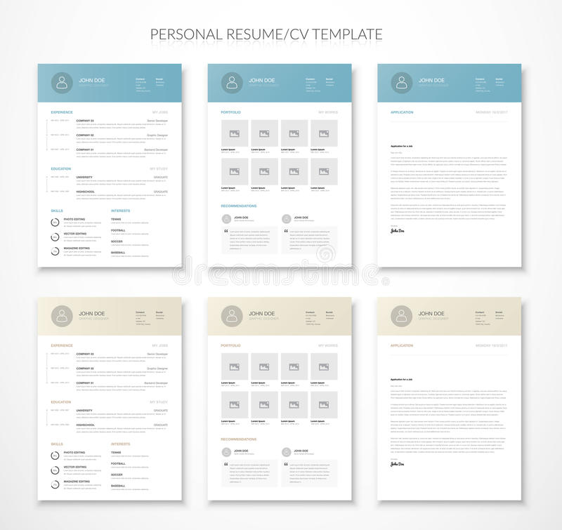 Personal business curriculum vitae and resume vector two colors stock illustration