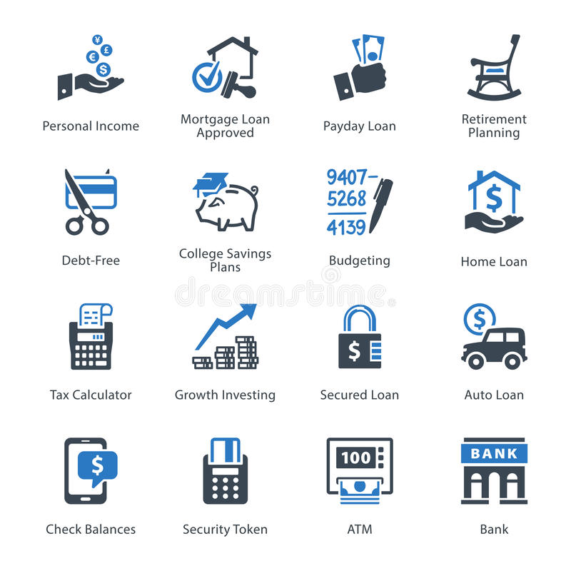Free Personal & Business Finance Icons Set 2 - Blue Series Royalty Free Stock Image - 47186346