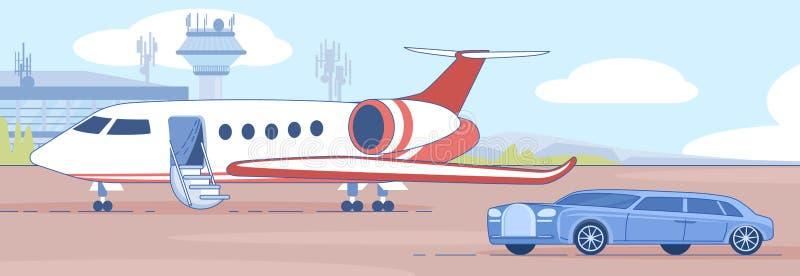 Personal Business Jet στο Airport Runaway Vector ελεύθερη απεικόνιση δικαιώματος