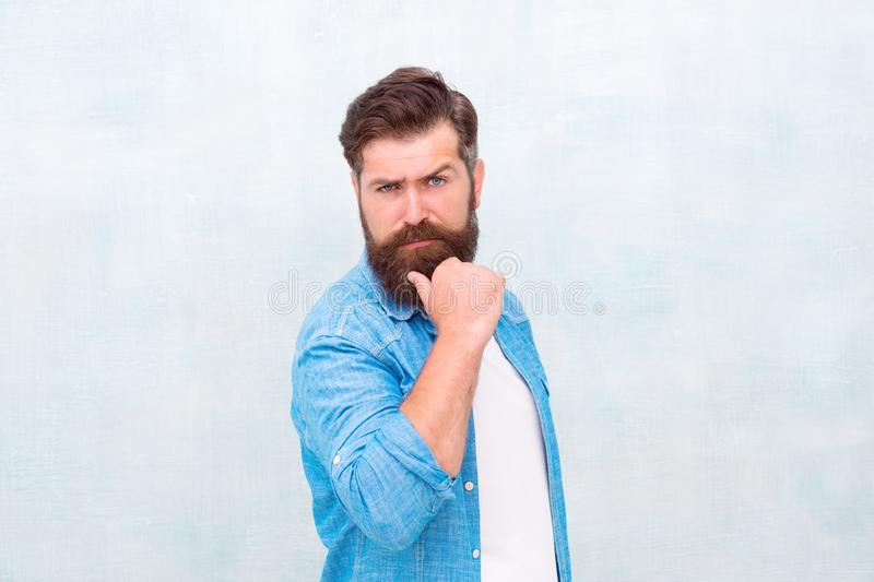 Personal care. he cares for his face. perfect beard. brutal hipster. Male serious portrait. hipster fashion. Mature royalty free stock photos