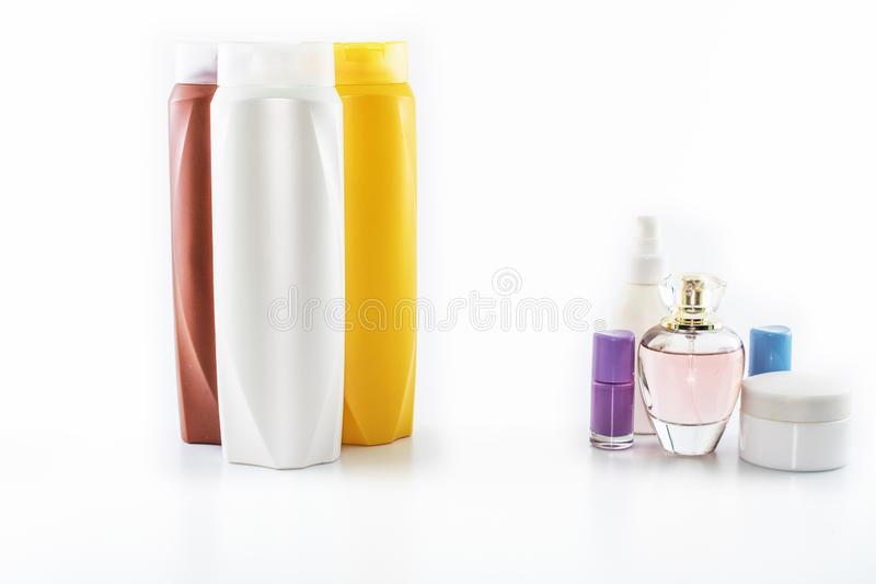 Personal care products. Background in white color close-up. It was taken in the studio. Soap, shower, oil, gel, moisturizer, foam, tube, hair, spray stock images