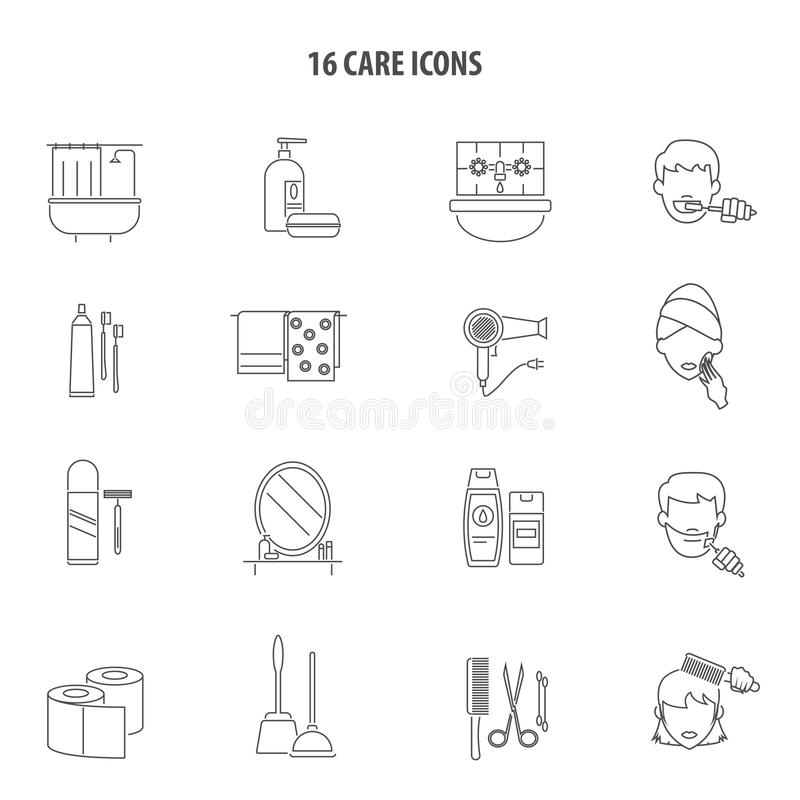 Personal Care Products Icons Set Line Stock Vector - Illustration of ...
