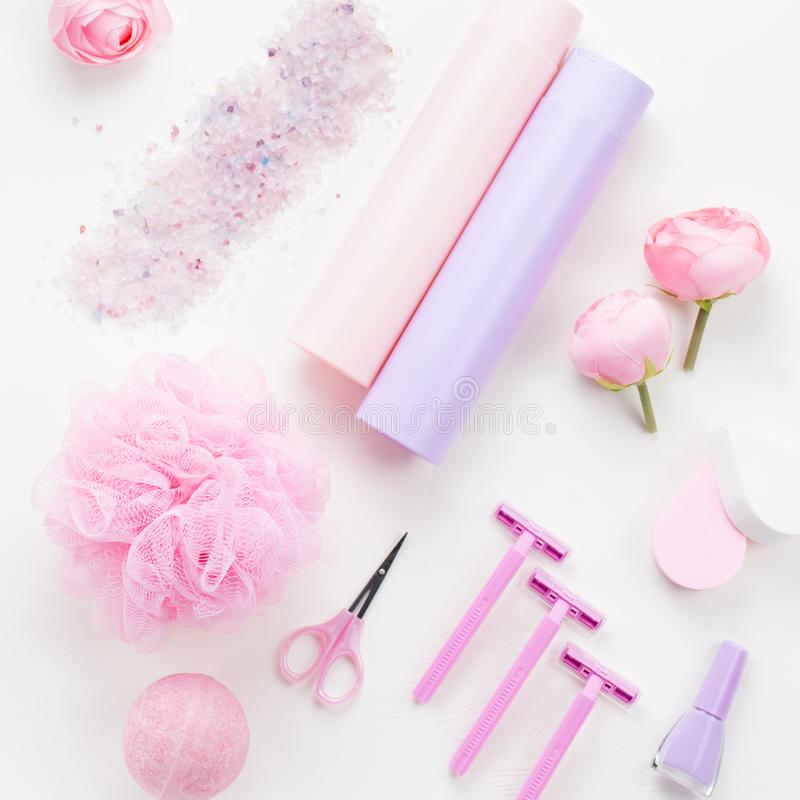 Personal care products, lingerie and cosmetics flat lay. Woman beauty treatment concept, top view. Personal care products and cosmetics flat lay. Woman beauty royalty free stock photos