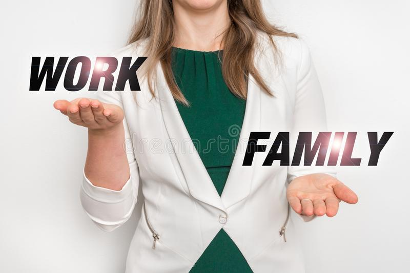Personal choice between work and family stock images