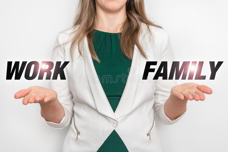 Personal choice between work and family. Balance concept stock photos