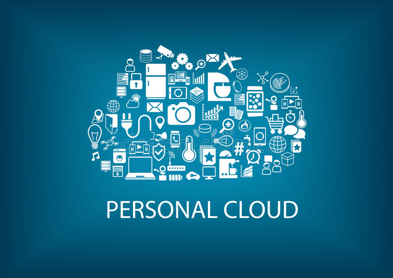 Personal cloud computing for home automation services. stock illustration