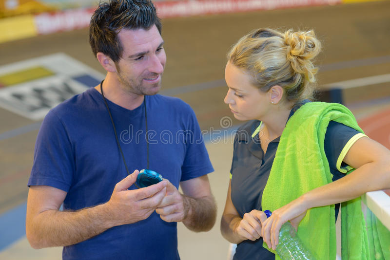 Personal coach talking to client royalty free stock photography