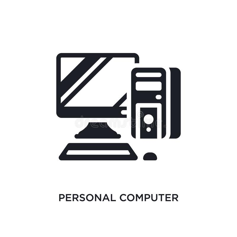 Personal computer isolated icon. simple element illustration from electronic devices concept icons. personal computer editable. Logo sign symbol design on white stock illustration