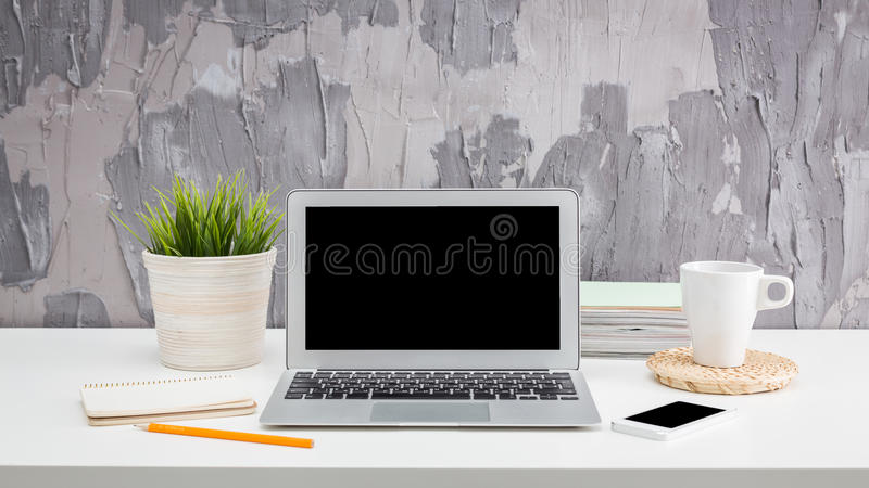 Personal computer. Monitor, office working place vector illustration