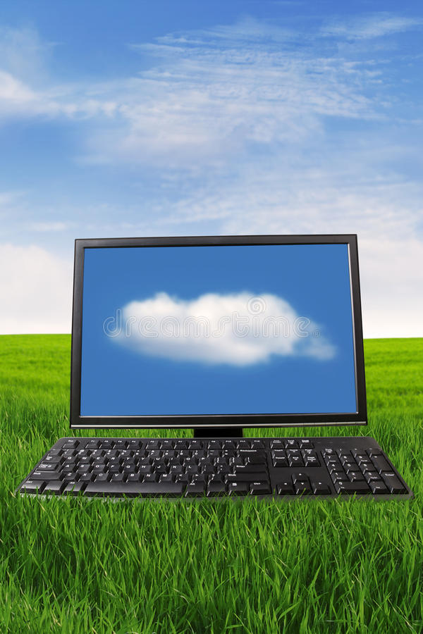 Download Personal computer outdoor stock photo. Image of meadow - 25394562