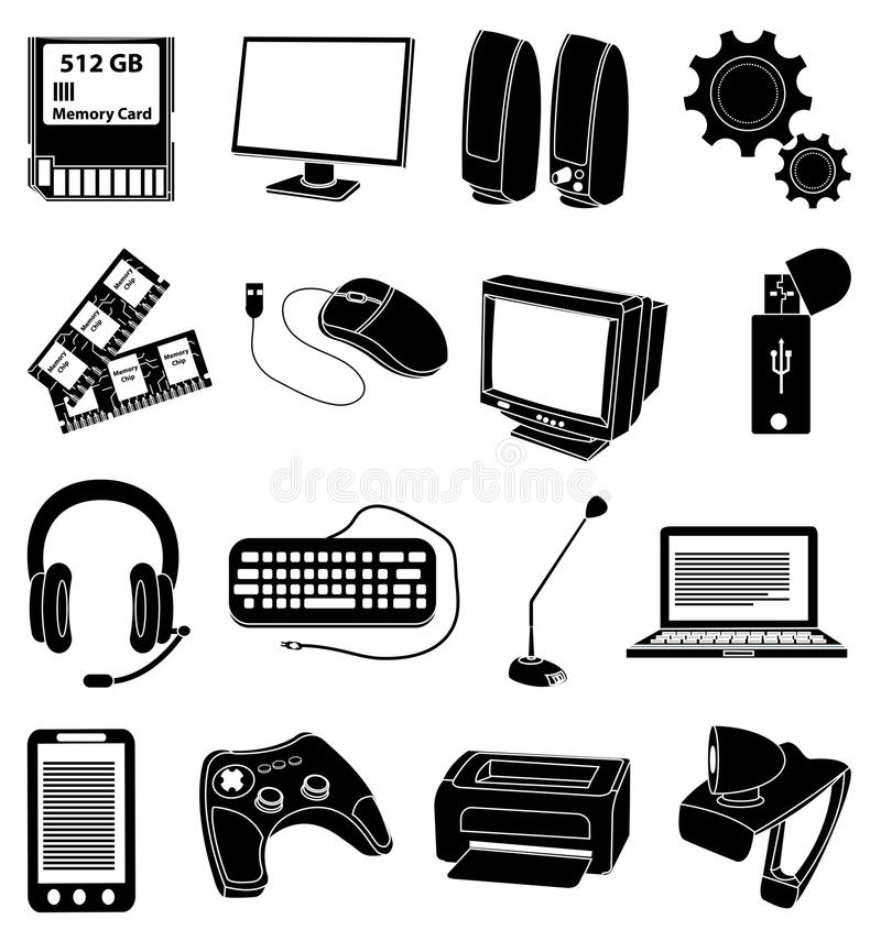 Personal computer parts icons set royalty free illustration