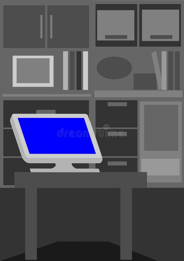 Personal computer solo nella stanza scura royalty illustrazione gratis