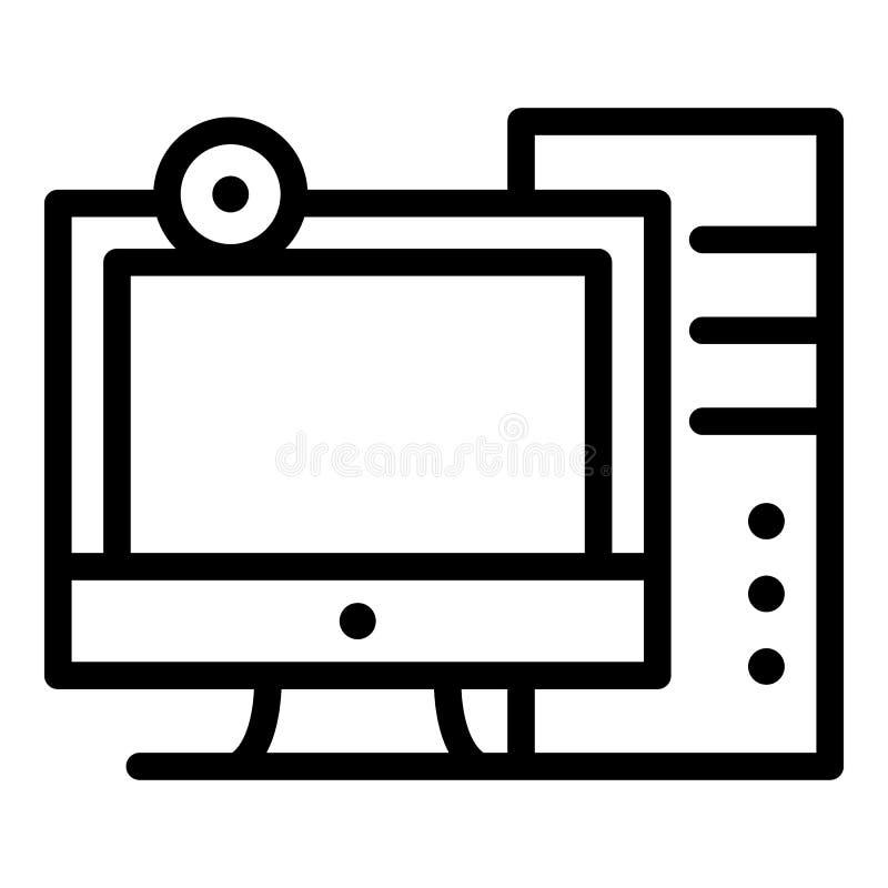 Personal computerpictogram, overzichtsstijl vector illustratie