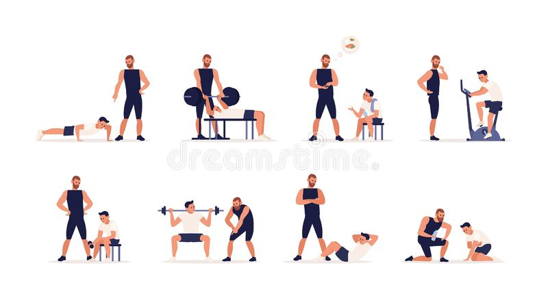 Personal couch or fitness trainer helps man during strength, power or cardio training, weight lifting, gym workout. Sports exercise, gives advice on nutrition royalty free illustration
