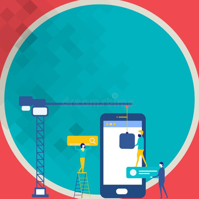 Personal, das für allgemeines Ziel-Ziel zusammenarbeitet Suchmaschinen-Optimierungs-Prozess und vermarktende on-line-Ikonen Digit stock abbildung