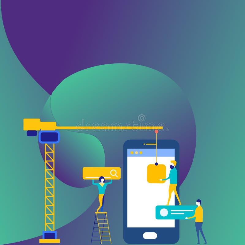 Personal, das für allgemeines Ziel-Ziel zusammenarbeitet Suchmaschinen-Optimierungs-Prozess und vermarktende on-line-Ikonen Digit vektor abbildung