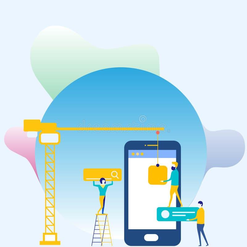 Personal, das für allgemeines Ziel-Ziel zusammenarbeitet Suchmaschinen-Optimierungs-Prozess und vermarktende on-line-Ikonen Digit lizenzfreie abbildung