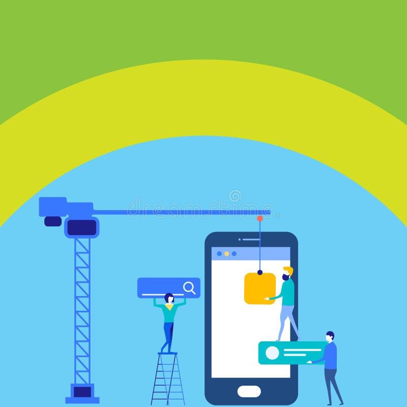 Personal, das f?r allgemeines Ziel-Ziel zusammenarbeitet Suchmaschinen-Optimierungs-Prozess und vermarktende on-line-Ikonen Digit vektor abbildung