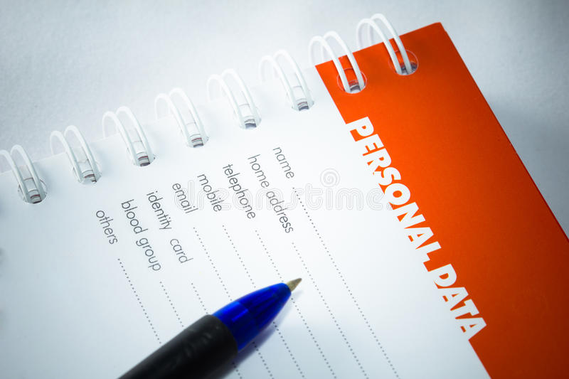 Personal data. Empty personal data on a note book stock photos