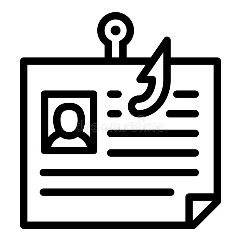 Personal data phishing icon, outline style stock illustration