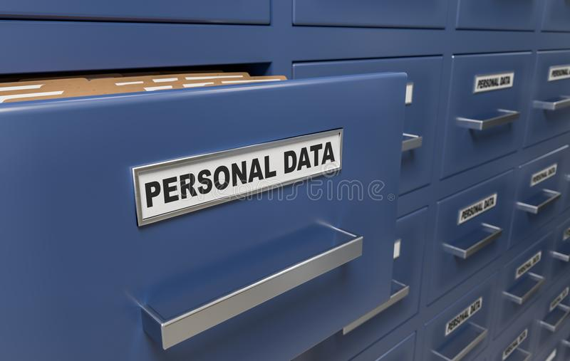 Personal data protection and privacy concept. A lot of cabinets with documents and files. 3D rendered illustration.  royalty free illustration