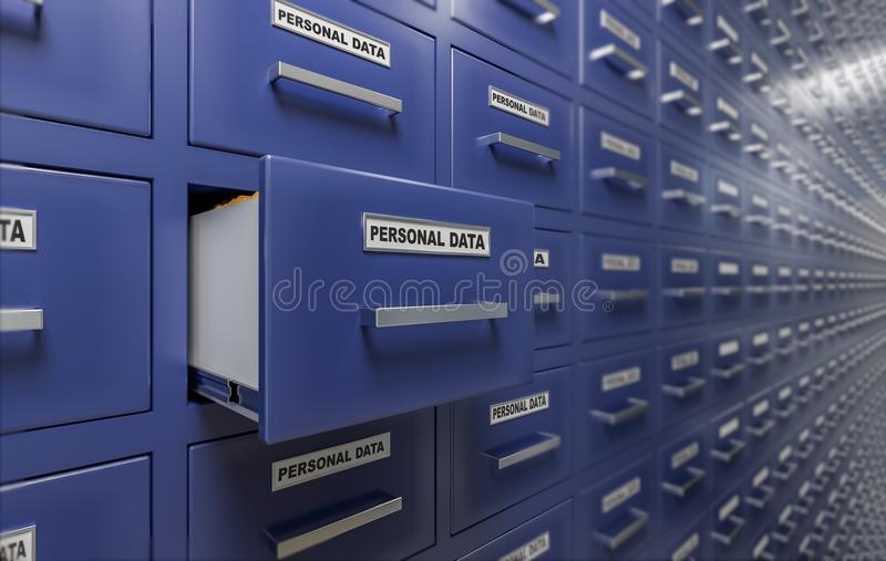 Personal data protection and privacy concept. A lot of cabinets with documents and files. 3D rendered illustration.  vector illustration