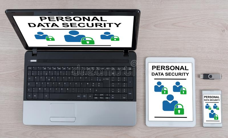 Personal data security concept on different devices. Personal data security concept shown on different information technology devices royalty free stock photography