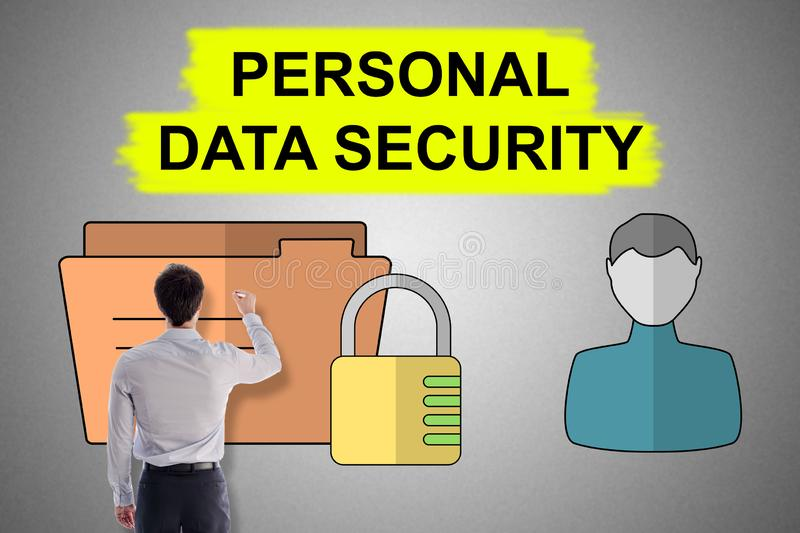 Personal data security concept drawn by a man. Personal data security concept drawn by a businessman royalty free stock photo