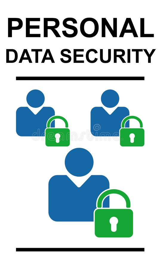 Personal data security concept on white background. Personal data security concept drawn on a white background royalty free stock images
